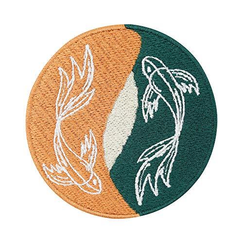 Finally Home Soul of The Moon Collection: Yin Yang Fish Parche termoadhesivo | Parches Koi Japan para planchar de pescado