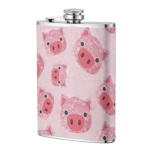 Fiaschetta Per Liquore A Prova Di Perdita Rosa Maiale Con Tasca Glitter Fiaschetta Bottiglia Di Vino Bottiglia In Acciaio Inox Per Unisex