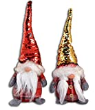 Centesimo Web Shop Coppia Fermaporta Arredo Pupazzi Natalizi 33 cm Grandi Natale Addobbo Decoro Gnomo Elfo Gnometti Maschio Femmina - Rosso - 33 cm