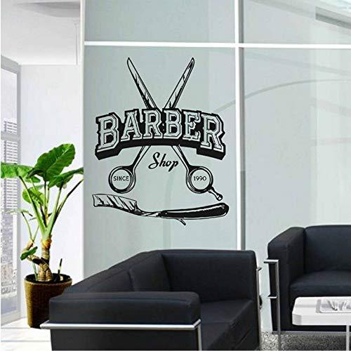 Etiqueta De La Pared Tijeras Logotipo De La Barbería Vinilo Decoración De La Ventana Peluquería Calcomanías Cortes De Pelo Mural Papel De Pared Extraíble Tiempo Personalizado 42X52 Cm