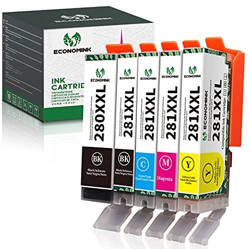 Economink Compatible Ink Cartridge Replacement for Canon PGI-280XXL CLI-281XXL 280 XXL 281 XXL for Pixma TR8520 TS6220 TS6320 TS9120 TS8220 TS8320 TR7520 TS5320 TS9520 TS8120 TS9521C TS702 (5 Pack)