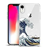 Unov Case Clear with Design Slim Protective Soft TPU Bumper Embossed Pattern [Support Wireless Charging] Cover for iPhone XR 6.1 Inch(Great Wave)
