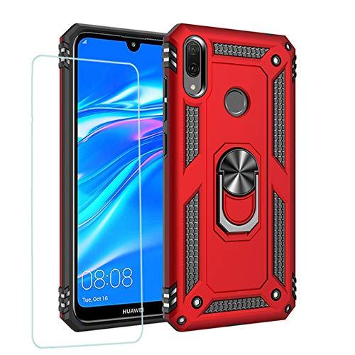 Joytag kompatibel für Huawei Y7 2019 Hülle,handyHülle+ panzerglasfolie Silikon TPU 360 Grad Drehring aus Halter magnetisch Autotelefon case-Rote