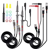 Youmile 2PCS P6100 Kit de sonda de osciloscopio 100MHz Scope Clip Test Probe para osciloscopio con BNC a Mini Hook Leads, BNC Macho a BNC Macho