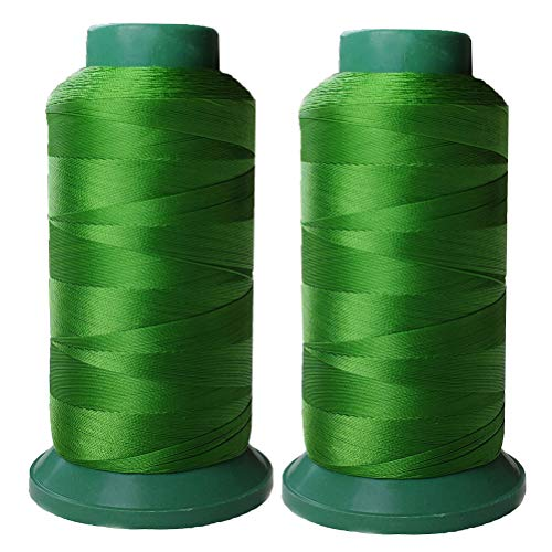 Polyester Thread Heavy Duty Bonded UV Resistant High Strength Outdoor Thread #69 T70 Size 210D/3Ply for Upholstery, Outdoor Market, Drapery, Leather, Beading, Crafts, 3000Yards Set of 2 (Green)