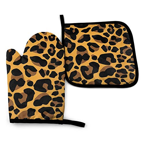 NELife Oven Mitts and Pot Holders Sets, Full Leopard Print Waterproof Polyeste Cooking Gloves Heat Resistance Non-Slip Surface for Kitchen BBQ Cooking Baking Grilling