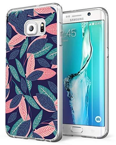 Coque Compatible pour Galaxy S7, Bumper Housse Etui [Liquid Crystal] Ultra Mince Protection Premium TPU Silicone Premium Transparent/Exact Fit/Souple pour S7 (Feuilles Colorées)