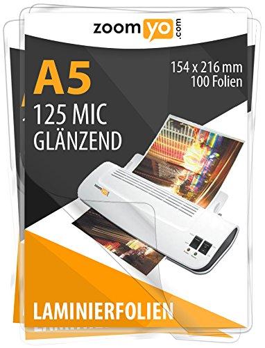 Zoomyo Premium Laminierfolien Laminiertaschen hochglanz DIN A5 2 x 125 MIC 100 Stück