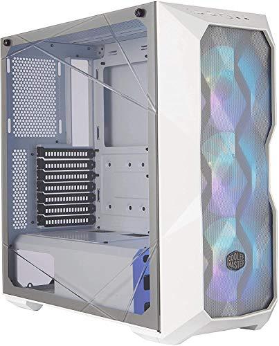 Cooler Master MasterBox TD500 Mesh White- Caja PC ARGB Frontal Mallado Líneas Poligonales, 3 x 120 mm Ventiladores Preinstalados, Panel Lateral Vidrio, Configuraciones Flujo de Aire -Color Blanco