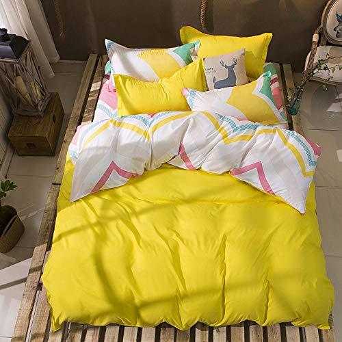 ARTEZXX beddengoed set 3-delig - geel golvend patroon - 100% polyester stof dekbedovertrek set gebruik zachte rimpel gratis hypoallergene rits & hoekbanden (1 dekbedovertrek + 2 kussenslopen)