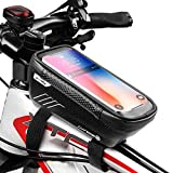 "WILD MAN Bike Phone Mount Bag, Cycling Waterproof Front Frame Top Tube Handlebar Bag with Touch Screen Holder Case for iPhone X XS Max XR 8 7 Plus, for Android/iPhone Cellphones Under 6.5""(E2)"