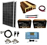 WindyNation 200 Watt (2pcs 100 Watt) Solar Panel Kit + 1500W Power Inverter + 200ah 12 Volt AGM Deep Cycle Battery Bank for RV, Boat, Off-Grid