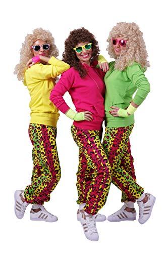 RUNSTYLE FetteParty - 80-er 90-er Jahre Erwachsenenkostüm, Deluxe Trainingsanzug Outfit Neon Hoodie und Hose - Kaneval Mottoparty ABI Partys JGA (L/XL, Neon Pink)