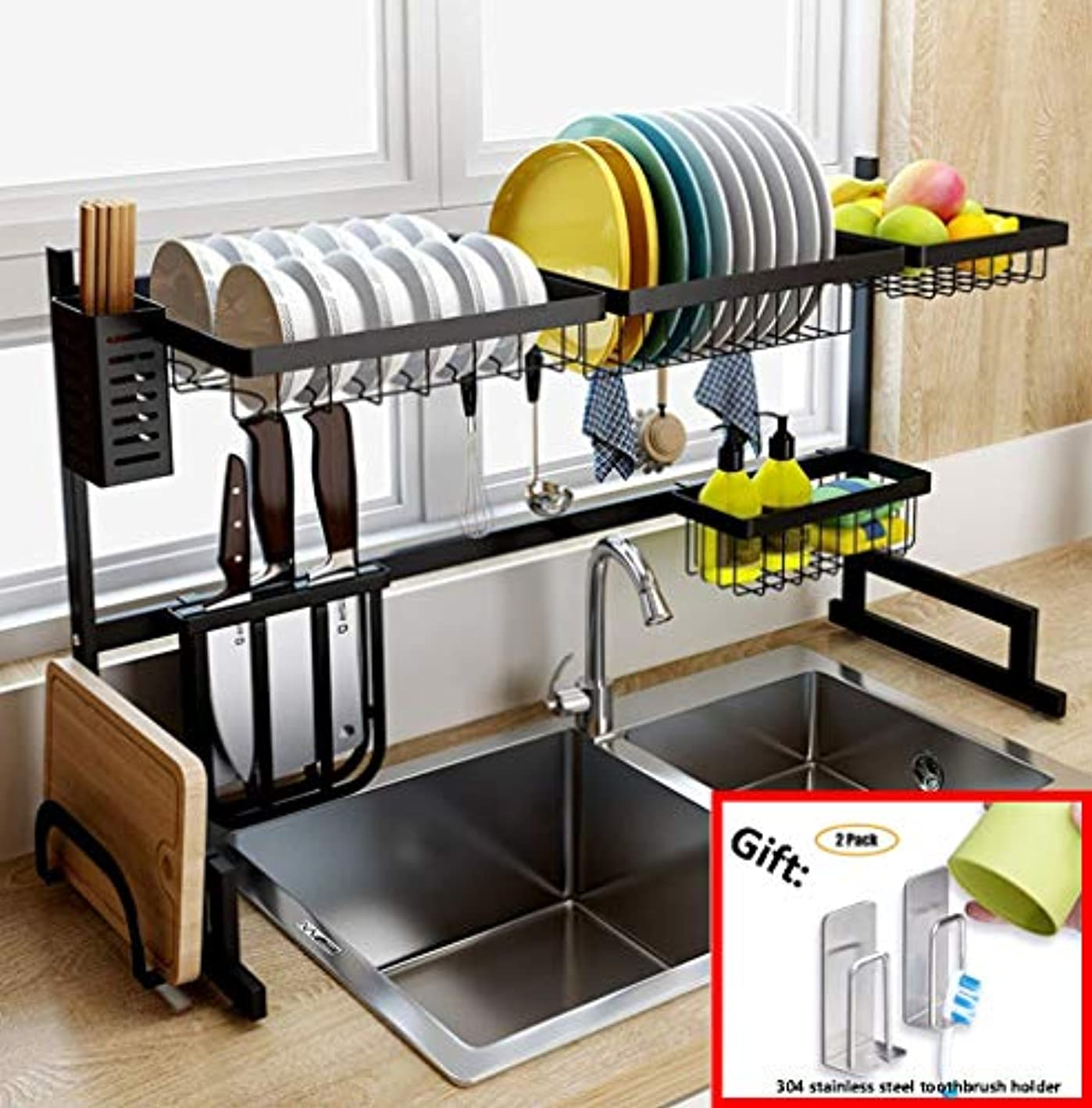 Dish Drainer Rack Holder Black Stainless Steel Kitchen Rack Sink Sink Dish Rack Drain Bowl Rack Dish Rack Kitchen Supplies Storage Rack, 95cm