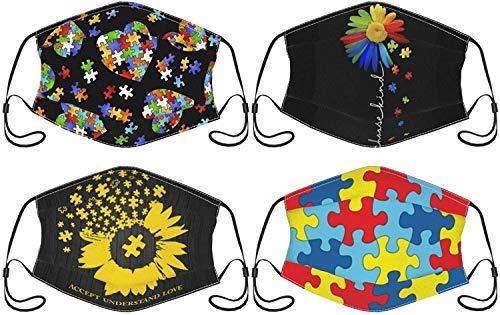 Lot de 4 masques faciaux avec poche filtrante, lavables, respirants, réutilisables, anti-poussière et coupe-vent, pour homme et femme, pour comprendre l'amour, le tournesol, l'autisme, taille unique