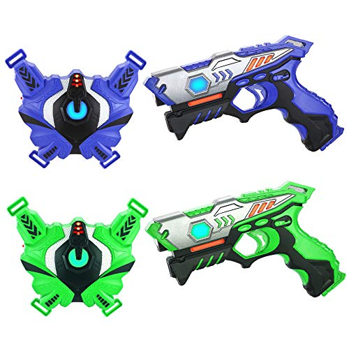 TINOTEEN Laser Tag Guns Set with Vests Infrared Guns Set of 2 Players (Green & Blue)