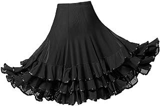 Sharplace Damen Knielang Maxirock Tanzrock Sommerkleid Bauchtanz Rock Tanzen Kostüm für Walzer, Tango, Latin, Cha Cha, Flamenco