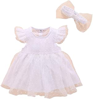 RONSHIN 2 pcs/Set Baby Kids Girls Elegent Mesh Tutu Princess Dress + Bowknot Headband Set White 80 (9-12 Months)