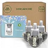 Airwick Diffusore di Oli Essenziali Elettrico, 1 Confezione con 1 Profumatore per Ambienti e 3 Ricariche, Fragranza Puro Lino - 55 g