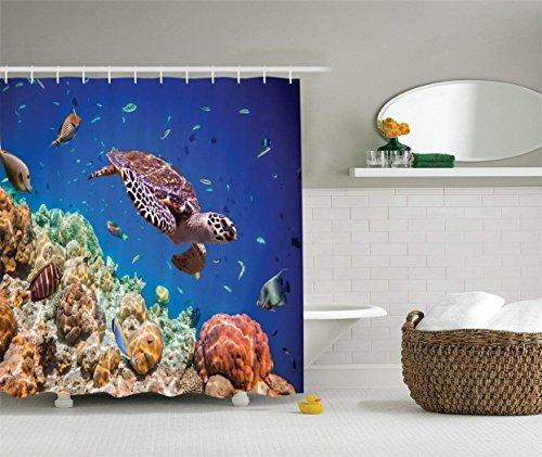 Tenda doccia, collezione decorazioni per l'oceano Tartaruga che nuota con un banco pesci esotici colorati tra spugne mare Maldive Oceano Indiano Immagine Tenda doccia per bagno Salmone marino 183 * 1