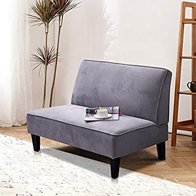 Alunaune Upholstered Settee Loveseat Bench Modern Cushioned Linen Armless Sofa Couch Sleeper for Living Room Bedroom (Light Grey) - 🏆【ERGONOMIC DESIGN】Upholstered sponge,human design,comfortable touch for your head, back and leg. The loveseat bench is ideal for small spaces, offer maximum cozy. 🏆【ELEGANT STYLE】The sofa couch inspired and transitional design elements for an elegant look. Solid wood frame with rubber wood legs constructed with excellent workmanship, sturdy and durable for a long time. 🏆【STABLE & COMFORTABLE】Upholstered with plush fabric, high density polyurethane foam cushion covered with soft velvet makes this settee comfortable and durable. - sofas-couches, living-room-furniture, living-room - 51Jo74m7cCL. SS400  -