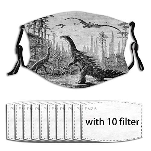 1Mask with 10pc Filters,Dinosaurs Dragons in an Araucaria Landscape Primitives on Earth Trex Illustration Print Reusable Face Mask Balaclava Washable Outdoor Nose Mouth Cover Adults
