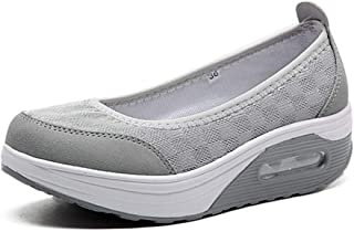 Bonrise Womens Wedge Platform Sneakers Loafers Comfort Slip On Breathable Mesh Lightweight Casual Tennis Air Fitness Shoes