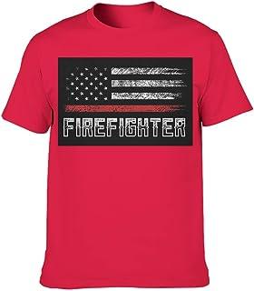 Men's T-Shirt Cotton Crew Neck Short Sleeve Super Premium Fireman American Flag Design Large Tee Shirt