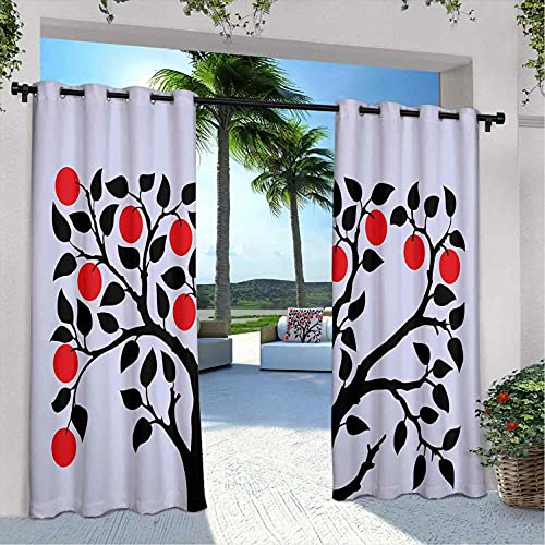 Apple - Cortinas para patio al aire libre, diseño de árbol negro con frutos maduros, color rojo y rojo