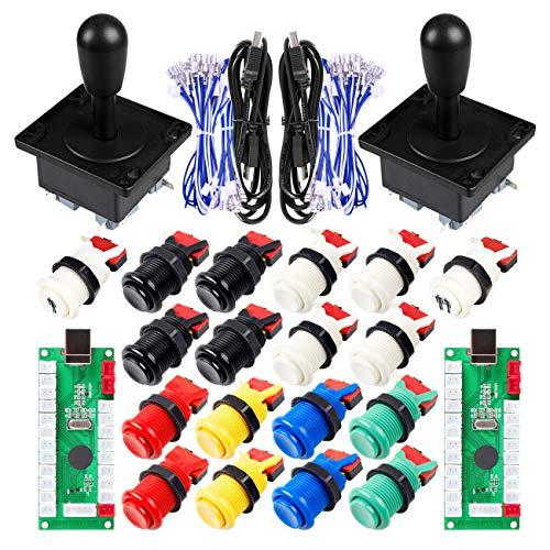 Clásico juego de arcada de bricolaje Parte de Mame USB gabinete 2x Zero Delay codificador USB para juegos de PC + 2x 8 Camino Joystick + 18x Arcade Push Button (incluyendo 1p / 2p teclas de partida)
