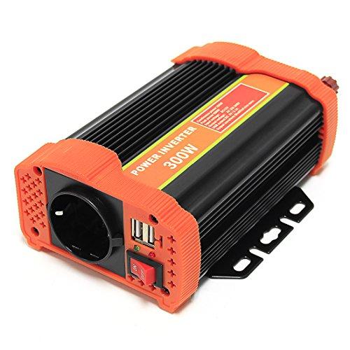 Signstek 300W/ 600W/ 1000W/ 1500W Auto Spannungswandler Welchselrichter DC 12V auf 220V Computer Laptop Projektor Power Inverter mit EU Steckdose, 2.1A USB Port, Autobatterieclips, Kabel (600W)