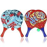 com-four® 6-teiliges Beachball Set, Beachball-Schläger aus Holz und Gummibälle (06-teilig Mix)