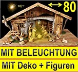 80 cm XXL Große Weihnachtskrippe + Zubehör, BTV Ausführung: massiv aus Holz Vollholz Massivholz KOMLETT mit Figuren Krippenzubehör Krippenfiguren HANDBEMALT UND GEBEIZT und Beleuchtung + Trafo + Zubehör für Weihnachten K80MFHOTL