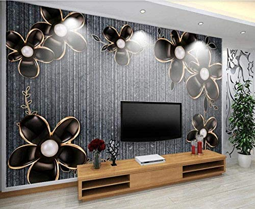 Foto Wallpaper Wandbild - Black Relief Flower Noble * 350 * 256cm Benutzerdefinierte 3D Wallpaper DIY Dekor-XXL Wandbild Kunst Wohnzimmer Schlafzimmer Decke Wandbild
