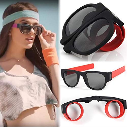 AmyGline Faltende Sonnenbrille Armband Frosch Spiegel Reit Handgelenk Kreatives Armband Brille Polarisierte Sonnenbrille Schutzbrille Snap Armband für Herren und Damen (Rot)