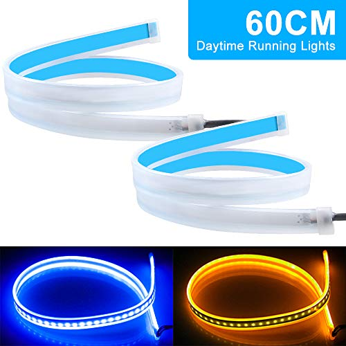 yifengshun 2Pcs Luces de Circulación Diurna, color Azul + amarillo 12V impermeable de LED Coche Tira del Faro Delantero Señal de giro-60 CM
