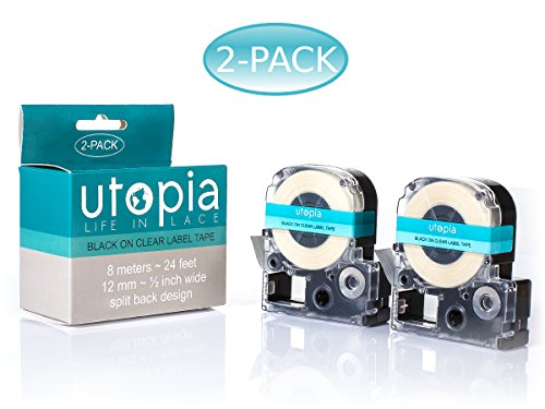 Utopia Label Tape Refill Cartridge for Epson LabelWorks LW-300 LW-400 LW-500 LW-600 LC-4WBN9 2-Pack (Black on Clear)