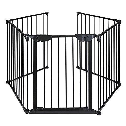 Lovinland Baby Gate with Auto Close Door Pet Gate 5 Panel Metal Gate Fireplace...
