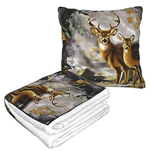 Manta de almohada de terciopelo suave 2 en 1 con bolsa suave El árbol real camuflaje de ciervos funda de almohada para casa, avión, coche, viajes, películas