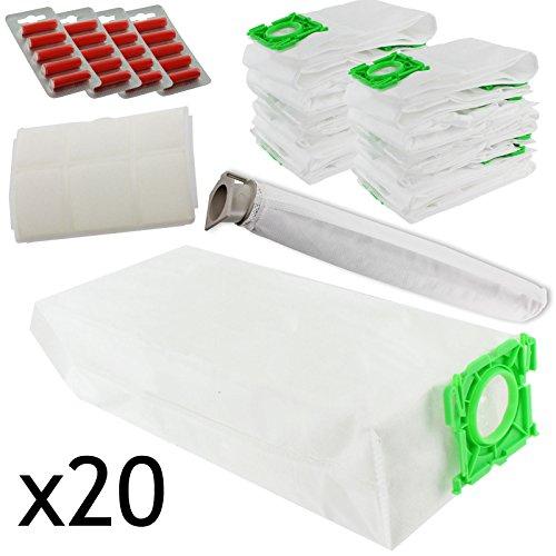 SPARES2GO High filtration Cloth bag & kit di filtro per aspirapolvere Compatibile con Sebo X1 X1.1 (confezione da 20 sacchi e filtro kit + 20 deodoranti