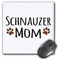 "3drose Schnauzer Dog Mom–Doggie by Breed–MuddyブラウンPaw Prints–マウスパッド、8by 8"" ( MP _ 154188_ 1)"