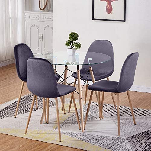 GOLDFAN Dining Table and Chairs Set 4 Modern Round Tempered Glass Kitchen Table and Velvet Chairs with Solid Wood Legs Dining Room Set, Grey