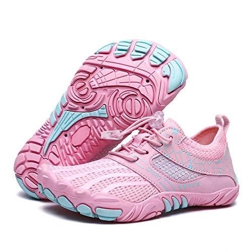 SWZEC Enfants Aquatiques Chaussures Minimalistes Garçon Running Trail Imperméable Séchage Rapid Chaussures de Plage Fille Pied Nu Antidérapant Respirants Rose 33