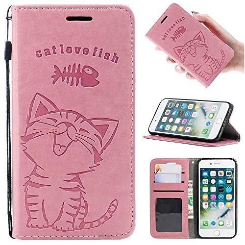 Zoeking 5.8インチ iPhone XS ケース 手帳型 薄型 軽量 PUレザー iphone xs かわいいカバー 可愛い 猫柄と魚柄 ねこ にゃんこ ネコ 動物柄 iphone xsケース カード収納 ストラップホール付き マグネット 横置き機