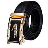Dubulle Mens Black Ratchet Belt Full Grain Leather Gold Crocodile Automatic Buckle Adjustable Sliding Belts for Dress Party
