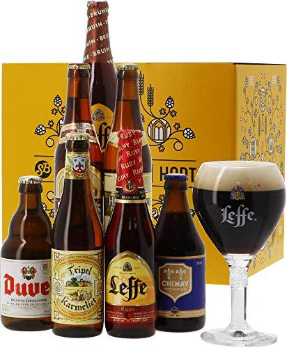 11 Belgische Spezialitäten im Geschenkkarton | 11 Biere + 1 Glas | Geschenkset | Probierpaket | Biertasting | Geburtstag | Vatertag | Ostern | Weihnachten