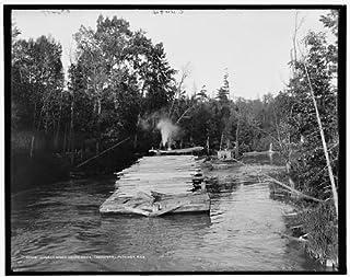 INFINITE PHOTOGRAPHS Photo: Lumber Barge,Inland Route,Industry,logs,Cheboygan-Petoskey,Michigan,MI,1900