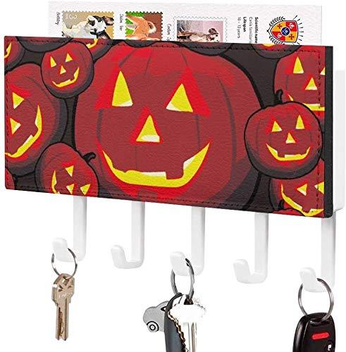 Rack Llave pequeña - Soporte para llaves, Gancho para llaves montado en la pared, Linterna de iluminación de calabaza roja de noche de Halloween, Soporte para correo de entrada a la pared, Organizado