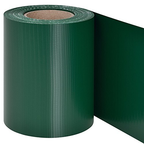 Juskys PVC Sichtschutzstreifen Doppelstabmatten Zaun | 35m x 19 cm | 30 Befestigungsclips | grün | Zaunfolie Sichtschutz Windschutz Garten Gartenzaun