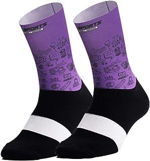 HemeraPhit, Transpirable Impresión Deportes Calcetines Ciclismo Baloncesto para Mujeres Hombres Entrenamiento Calcetines